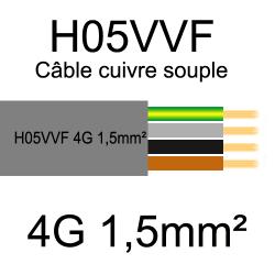 câble cuivre souple isolé PVC H05VVF 4 conducteurs 1.5mm²