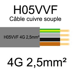 câble cuivre souple isolé PVC H05VVF 4 conducteurs 2.5mm²