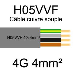 câble cuivre souple isolé PVC H05VVF 4 conducteurs 4mm²