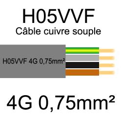 câble cuivre souple isolé PVC H05VVF 4 conducteurs 0.75mm²