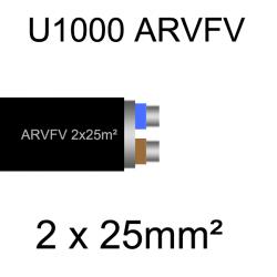 câble électrique armé aluminium ARVFV 2 conducteurs 25mm²