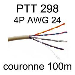 câble téléphone intérieur PTT298 4 paires AWG24 5/10 en couronne de 100m