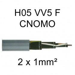 câble cuivre souple H05VV5F CNOMO 2 conducteurs 1mm²