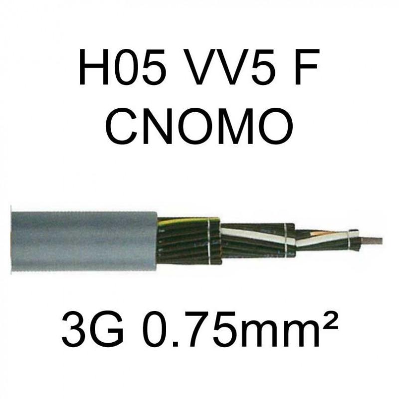 câble cuivre souple H05VV5F CNOMO 3 conducteurs 0.75mm²
