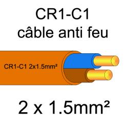 câble électrique résistant au feu CR1-C1 2x1.5mm²