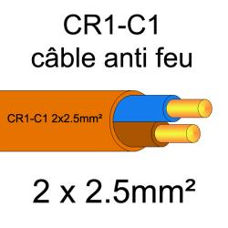 câble électrique résistant au feu CR1-C1 2x2.5mm²