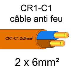 câble électrique résistant au feu CR1-C1 2x6mm²