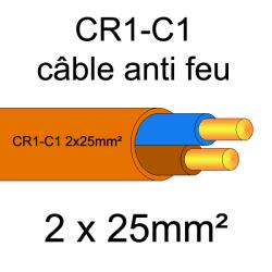 câble électrique résistant au feu CR1-C1 2x25mm²