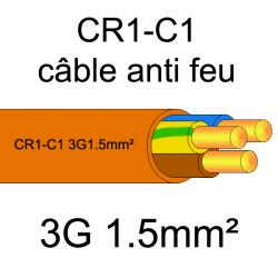 câble électrique résistant au feu CR1-C1 3x1.5mm²