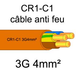 câble électrique résistant au feu CR1-C1 3G4mm²