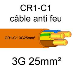 câble électrique résistant au feu CR1-C1 3G25mm²