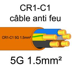 câble électrique résistant au feu CR1-C1 5G1.5mm²