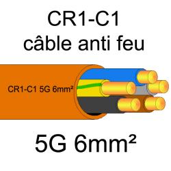 câble électrique résistant au feu CR1-C1 5G6mm²