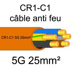 câble électrique résistant au feu CR1-C1 5G25mm²