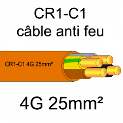 câble électrique résistant au feu CR1-C1 4G25mm²