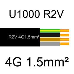 câble électrique cuivre U1000 R2V 4 conducteurs avec terre de section 1.5mm²