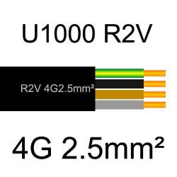 câble électrique cuivre U1000 R2V 4 conducteurs avec terre de section 2.5mm²
