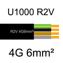 câble électrique cuivre U1000 R2V 4 conducteurs avec terre de section 6mm²