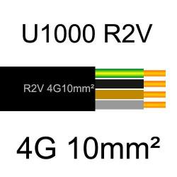 câble électrique cuivre U1000 R2V 4 conducteurs avec terre de section 10mm²