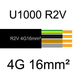 câble électrique cuivre U1000 R2V 4 conducteurs avec terre de section 16mm²