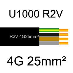 câble électrique cuivre U1000 R2V 4 conducteurs avec terre de section 25mm²