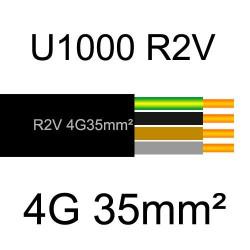 câble électrique cuivre U1000 R2V 4 conducteurs avec terre de section 35mm²