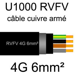 câble électrique armé renforcé âme cuivre U1000 RVFV 4 conducteurs section 6mm²
