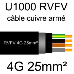 câble électrique armé renforcé âme cuivre U1000 RVFV 4 conducteurs section 25mm²