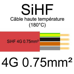 câble électrique cuivre souple isolé silicone SIHF 4 conducteurs 0.75mm²