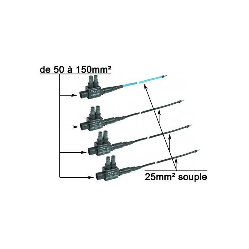 ensemble de 4 embouts de réduction de section 150mm² vers 25mm² , couleur bleu et noirs
