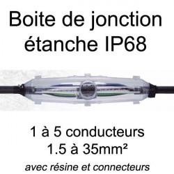 Boite de jonction étanche IP68 avec résine et connecteurs