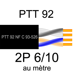 câble téléphone PTT92 2 paires torsadées 6/10eme vendu au mètre
