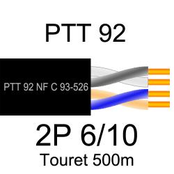 câble téléphone PTT92 2 paires torsadées 6/10eme touret de 500m
