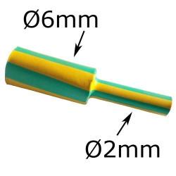 gaine thermorétractable diamètre 6mm verte et jaune