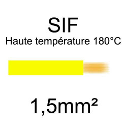 fil cuivre souple isolé silicone 1.5mm2 jaune
