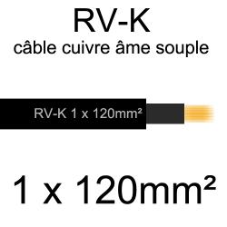 câble électrique âme cuivre souple série RV-K 1 conducteur 120mm²