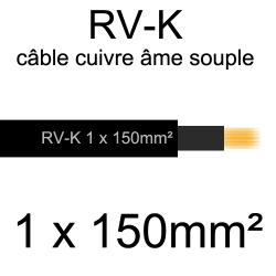 câble électrique âme cuivre souple série RV-K 1 conducteur 150mm²