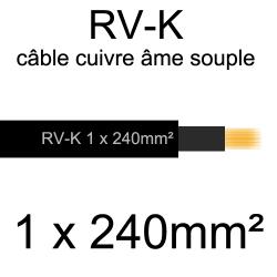 câble électrique âme cuivre souple série RV-K 1 conducteur 240mm²