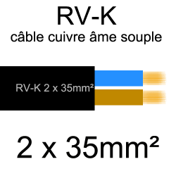 câble électrique âme cuivre souple série RV-K 2 conducteurs 35mm²