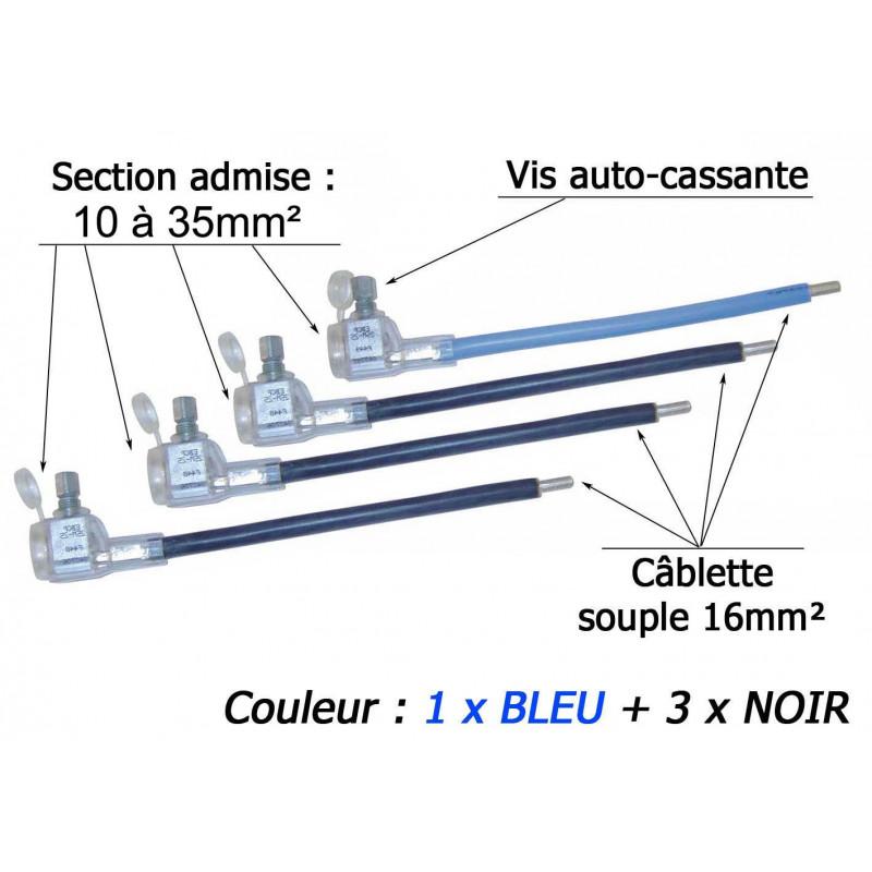 Kit 4 embouts réducteurs de câble 10-35/16mm² 3xNOIR+1xBLEU