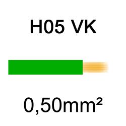 fil de câblage cuivre souple isolé PVC H05VK 0.5mm² vert