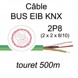 câble spécial bus de communication KNX EIB 2 paires 8/10 vendu en touret de 500m