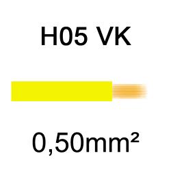 fil de câblage cuivre souple isolé PVC H05VK 0.5mm² jaune