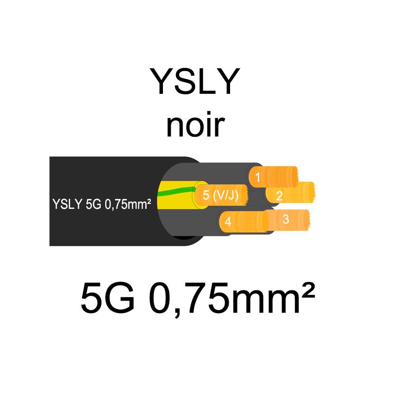Câble électrique souple noir YSLY