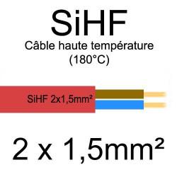 câble électrique cuivre souple isolé silicone SIHF 2 conducteurs 1.5mm²