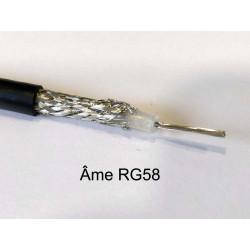 câble coaxial série RG58 vue sur la tresse de blindage et âme centrale conductrice