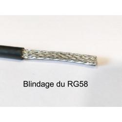 câble coaxial série RG58 vue sur la tresse de blindage