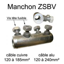 Manchon de raccordement pour prolongation de fil et câble électrique de section  120mm² à 240mm²