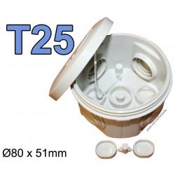 boite électrique ronde T25 80mm 51mm