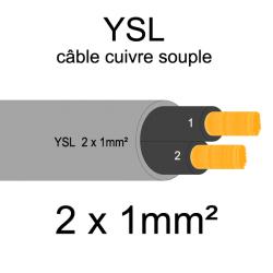 câble cuivre souple isolé PVC gris série YSL 2 conducteurs 1mm²